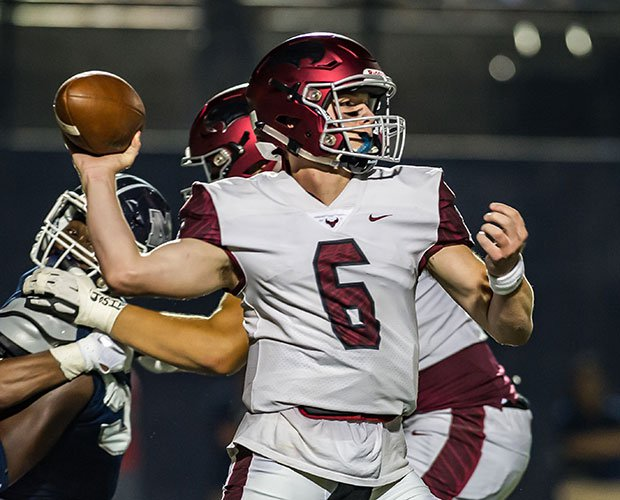 St. Joseph Prep quarterback Kyle McCord drops back to pass.