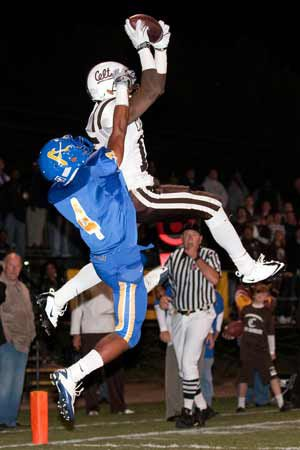 Crespi's Devin Lucien goes high for an early TD.