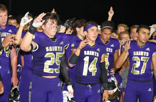 Connor Heffler (25) has helped undefeated St. Augustine of San Diego, Calif., surge to the top of the Touchdowns Against Cancer leaderboard.