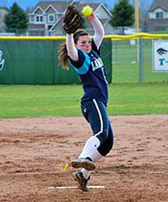 Stangel was just as effective on the mound as she was at the plate.