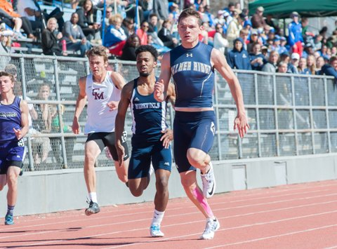 Palmer Ridge senior Caleb Ojennes, far right, won two sprint titles last year in leading the Bears to the Class 4A state title. Ojennes is a top contender again in the 100, 200 and 400 meters as the state track and field meet begins Thursday at Jeffco Stadium in Lakewood.