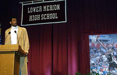 Kobe Bryant has his uniform retired at Lower Merion in 2002.