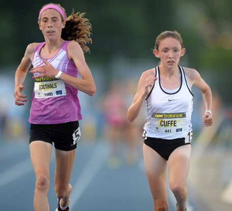 Megan Goethals (left) and Aisling Cuff dueled in a terrific 3200 at the New Balance Outdoor Nationals.