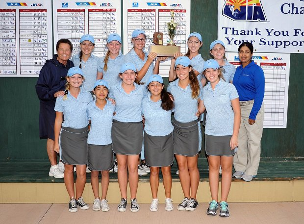 Sister Lynn Winsor (back left) with her Xavier College Prep girls golf team.