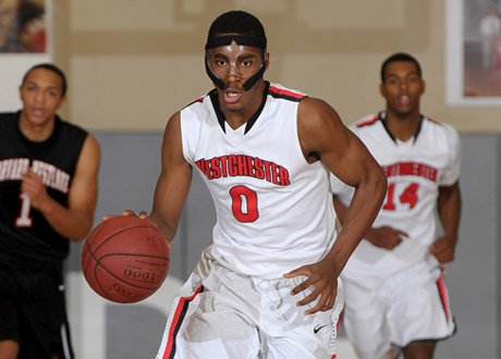 Westchester senior guard Matthew Grant takes on all comers straight on.