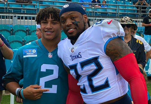 Kayleb Wagner (left) and Derrick Henry pose before Sunday's Tennessee Titans vs. Jacksonville Jaguars game.