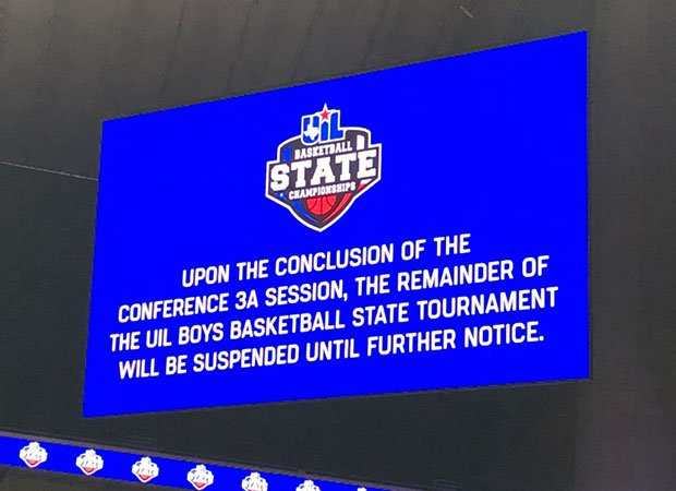 Fans attending Thursday's session of the UIL Boys Basketball State Tournament at the Alamodome in San Antonio were notified on the video board that the event would be suspended.