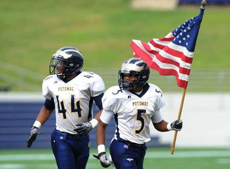 Josh Thorne (44) and Duane Short (5) of Potomac prior to their game at the Patriot Classic.