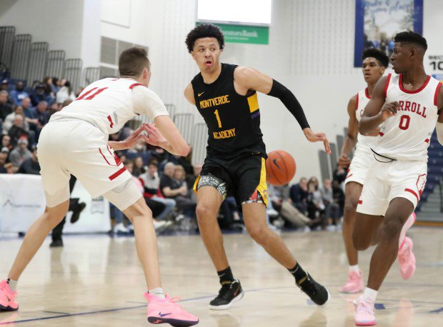 Projected top pick in the 2021 NBA Draft, Cade Cunningham throws a behind the back pass.