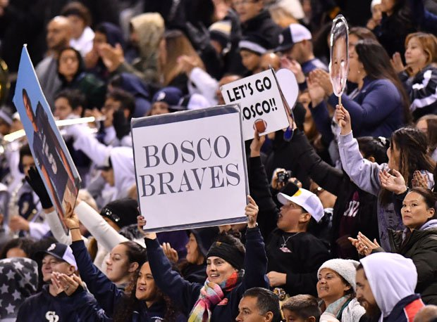 The chilly St. John Bosco Braves' fans kept their team encouraged, even down 28-5.