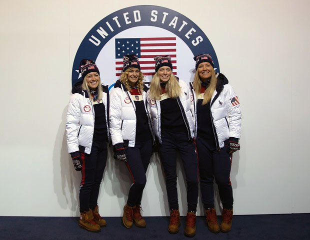 Meghan Tierney (second from far right) with 2018 USA snowboardcross teammates.