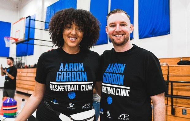 Elise Gordon with Packie Turner, who has trained numerous NBA players, including Stephen Curry, Harrison Barnes and Aaron Gordon.