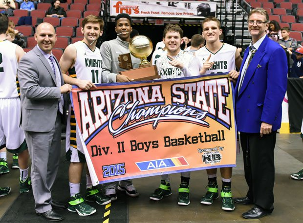 Kurt Keener (right) led Gilbert Christian to 25-6 record and state title his first season in 2014-15.