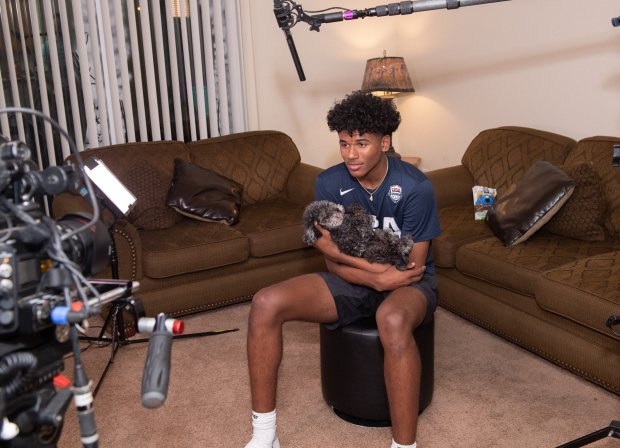 Jalen Green enjoyed a moment with his dog Twilight before being interviewed by MaxPreps at his parent's home in the Fresno area.