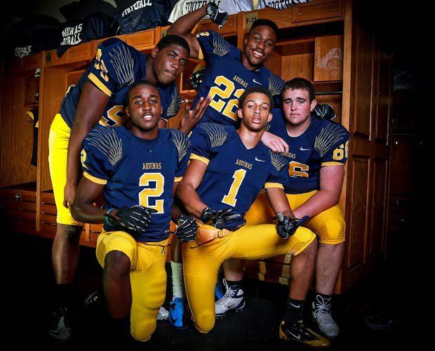 St. Thomas Aquinas will be strong in the trenches, which should set the tone for the team's play on both of sides of the ball. The team will be led by players (counterclockwise from top) Al Harris, Anthony Moten, Madre London, Nick Linder and Corey Holmes.