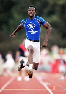 Jarrion Lawson fought off pain to  win the triple jump, his second  championship in two days.