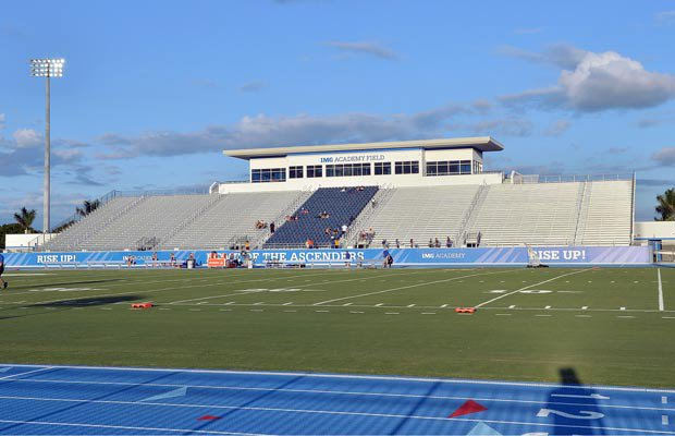 IMG Academy Stadium's home bleachers and press box.
