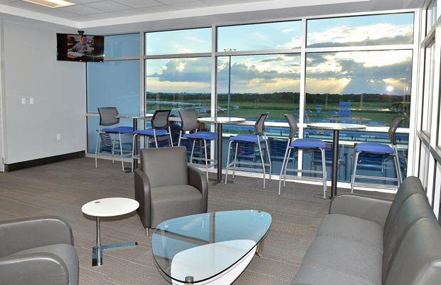 Suites that overlook the field are located next to the press box area.