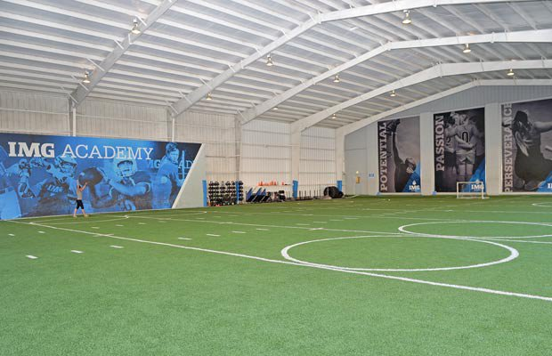 IMG Academy boasts a covered practice facility with a 60-yard field.
