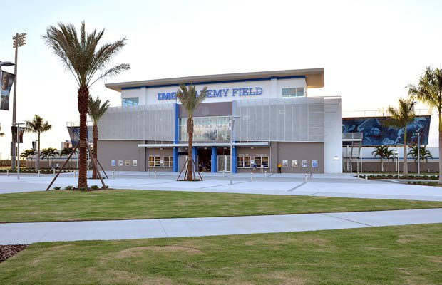 A shot of the exterior of IMG Academy Stadium.