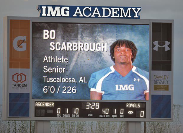 IMG Academy Stadium features a professional-caliber jumbotron that highlights the team's players.