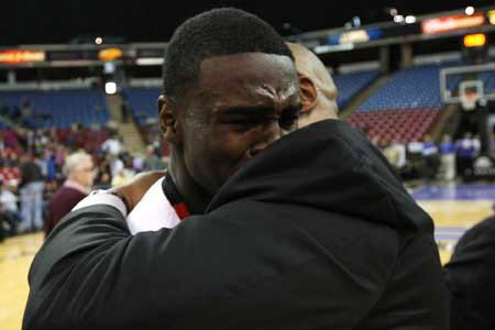 Jabari Bird was overcome with emotion after his team's resounding Division IV title win over Price.