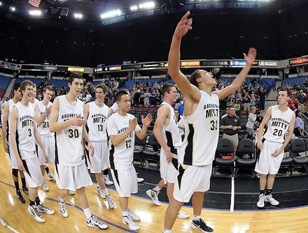 Aaron Gordon and his Mitty teammates following a surprising 21-point championship victory.