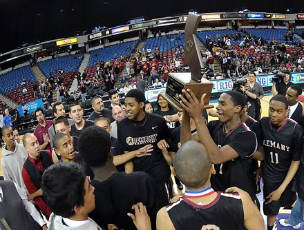 Alemany celebrates its first state title.
