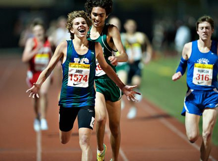 Darren Fahy exalts after finishing in 8:55.53 at the 2011 Arcadia Invitational.