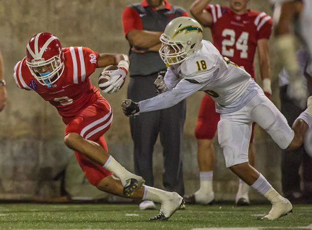 Mater Dei senior Amon-Ra St. Brown (left) is ranked the No. 2 receiver in the country by 247Sports.