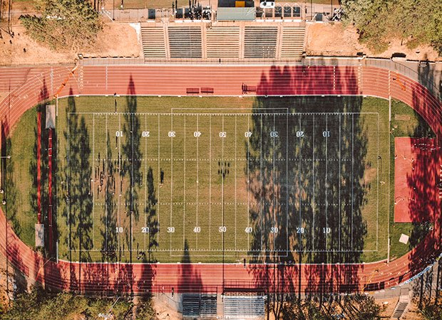 An aerial shot of Om Wraith Field the day before the Bobcats' home opener on Aug. 23.