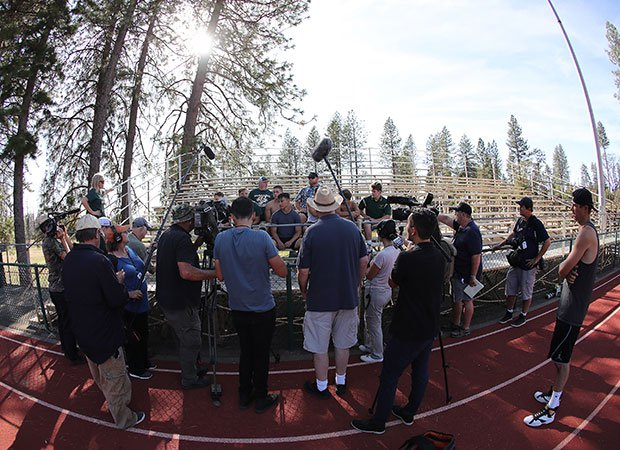 A large gathering of national and local media was on hand to document Paradise's first game since the fire.