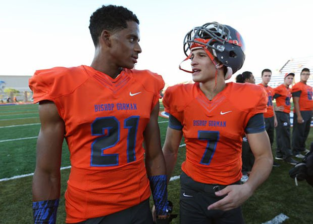 Cordell Broadus (left) and Biaggio Walsh before their first varsity games at Bishop Gorman on Friday.