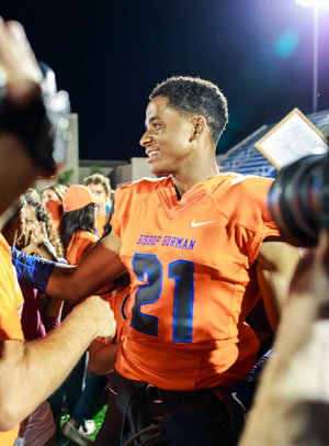 Cordell Broadus soaks it all in following Friday's win over Brophy Prep.