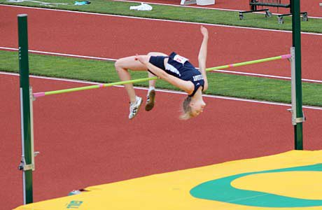 The multi-talented Rachel Proteau of West Albany, seen here breaking the 39-year-old Oregon high jump record, excels on the track, in the classroom and in front of the camera.