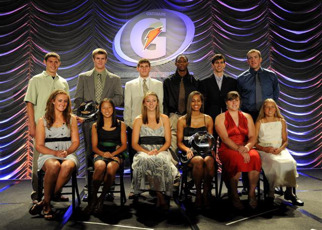 The entire 08-09 Elite Gatorade Dozen: Top row (L-R): Curtis Beach, Garrett Gilbert, Dillon Powers, Brandon Knight, Reed Connor, Matt Hobgood. Bottom row (L-R): Kenzie Fowler, Rachel Quon, Gina Mancuso, Skylar Diggins, Anna Jelmini, Jordan Hasay.