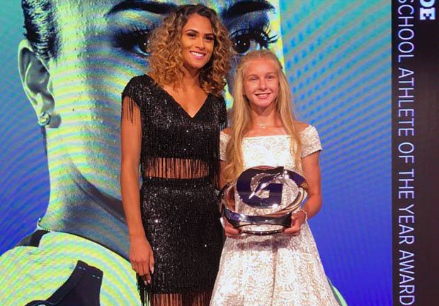 Katelyn Tuohy won the Gatorade 2017-18 female Athlete of the Year award last July. She poses with two-time winner Sydney McLaughlin.