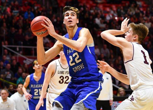 Matt Van Komen goes to work down low against Lone Peak in Utah's Class 6A state championship game.