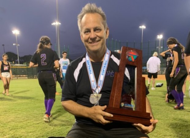 Winter Springs softball coach Mark Huaman was named the 2019 MaxPreps Coach of the Year after guiding the Bears to a Florida 8A state title and unbeaten season.