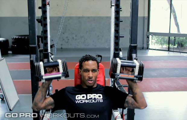 NBA guard Brandon Jennings demonstrates a press during a Go Pro Basketball Training Workout.