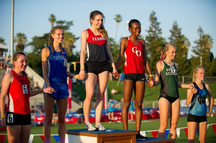 O'Keeffe, wearing No. 8, placed third last year in the 1,600-meters at the CIF state track and field meet.