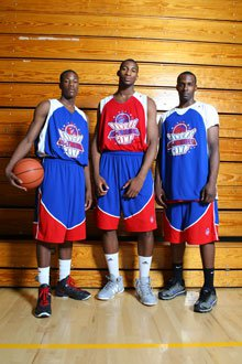 Top 10 prospects Archie Goodwin (left), Andre Drummond (center) and Shabazz Muhammad (right) at the Pangos All-American camp in June.
