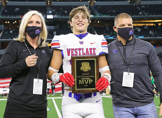 Westlake cornerback Michael Taaffe was selected the game's defensive MVP after intercepting two passes and recording five tackles.