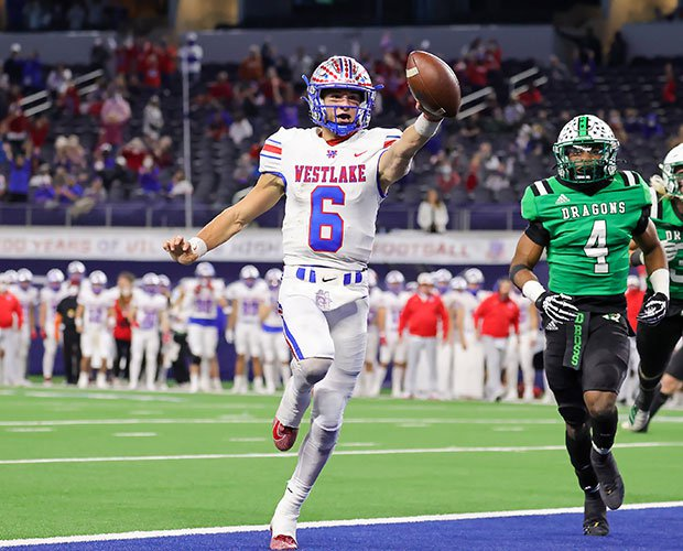 Westlake junior quarterback Cade Klubnik celebrates a first-half touchdown during his team's 52-34 victory over Southlake Carroll at AT&T Stadium.