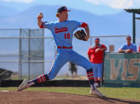 Heritage and ace Riley Egloff are in the driver's seat of the Class 5A Baseball Championship Series. The Eagles are the tournament's lone unbeaten and will need to be beaten twice when play resumes Saturday.