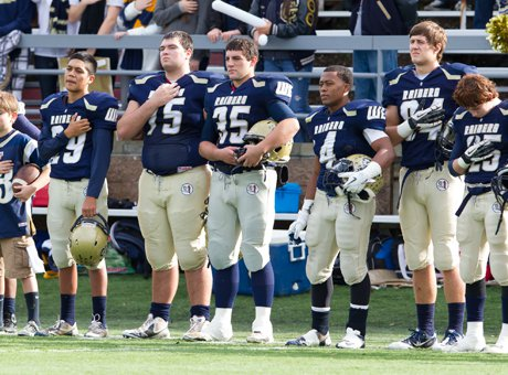 Spencer Stark (75) before Central Catholic's Sac-Joaquin Section championship win on Saturday. Spencer, a standout junior two-way lineman, lost his father John, who died suddenly on Friday due to complications from a stroke.