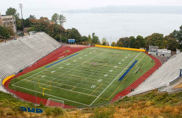 The Stadium Bowl on the campus of Stadium High School in Tacoma (Wash.) has a breathtaking view of Commencement Bay, and farther out is the Puget Sound.
