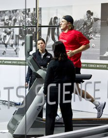 Blaine Gabbert tests with the Gatorade Sports Science Institute in New York City on Tuesday.