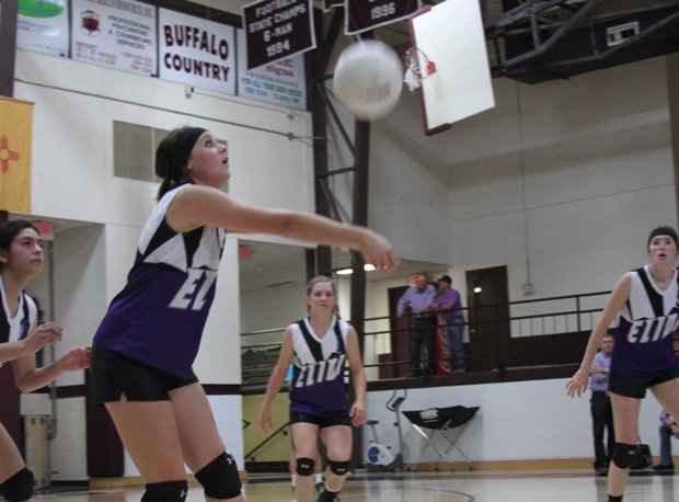Kynzi Creighton is one of the leaders on the Elida High volleyball team.