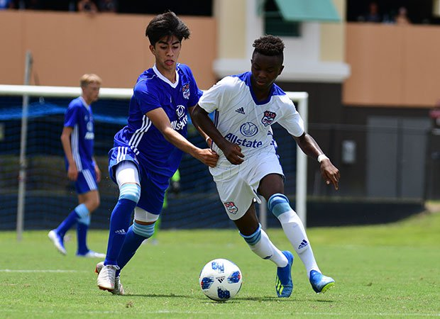 Yaya Bakayoko of Team Twellman dribbles the ball in the inaugural Allstate All-America Cup boys soccer game Wednesday in Orlando, Fla. Bakayoko's team beat Team McBride 5-4 in penalty kicks.